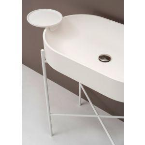 EXT Stand Oval Konsola umywalkowa z białym stelażem
