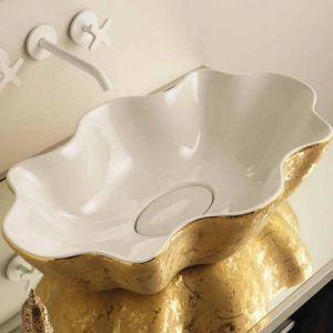 VITRUVIT Seastar SEALAAUWIGE Umywalka blatowa biało złota