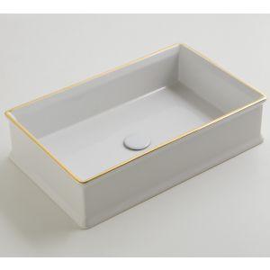 VITRUVIT Charme CHARMLAAFO Umywalka prostokątna biała z złotym paskiem
