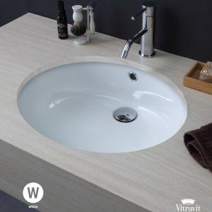 VITRUVIT Triumph Owalna podblatowa umywalka biała lub czarna