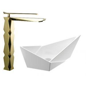 Komplet bateria umywalkowa Ikon złota i umywalka nablatowa