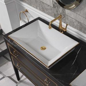 MIA ITALIA MLCESI017 Umywalka wpuszczana biała złoty dekor